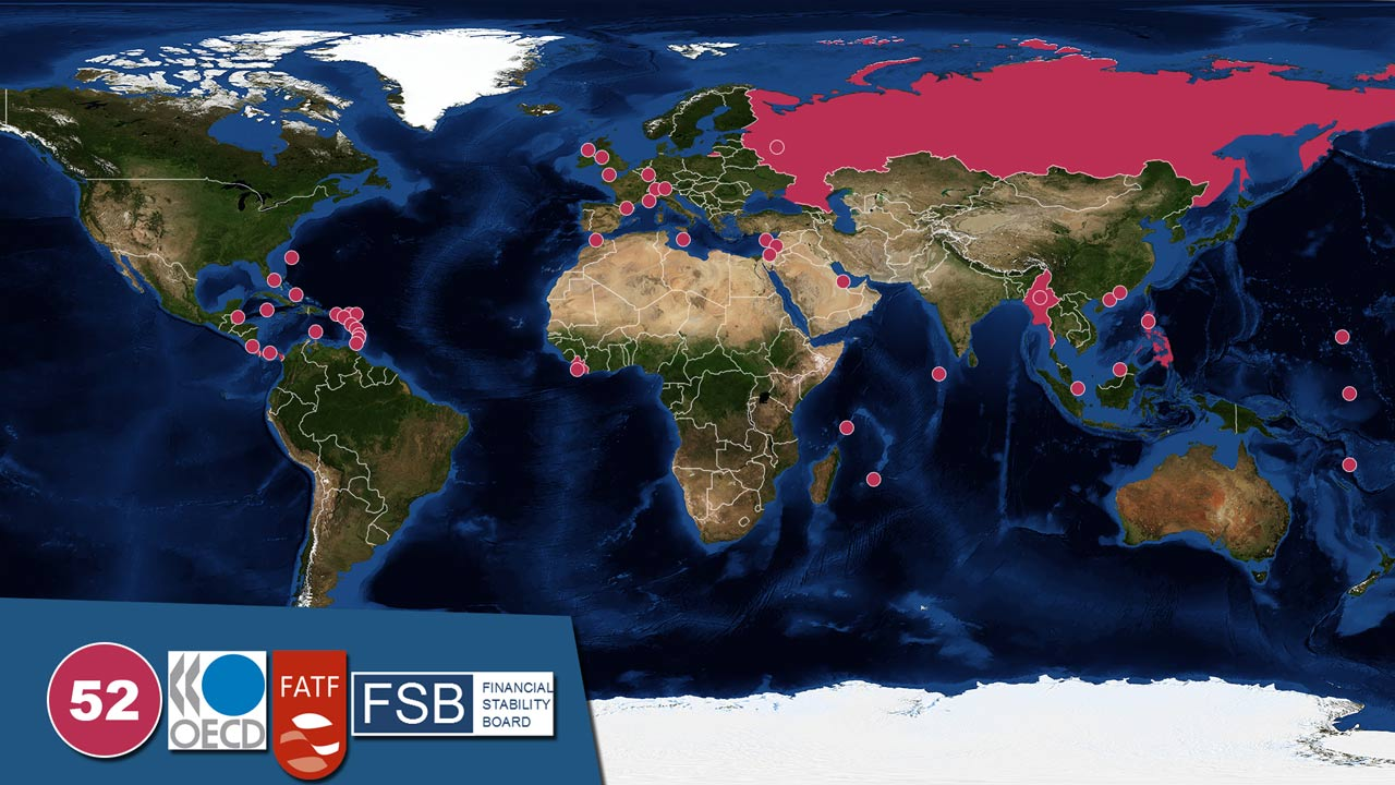 tax havens according to OECD FATF and FSB world map