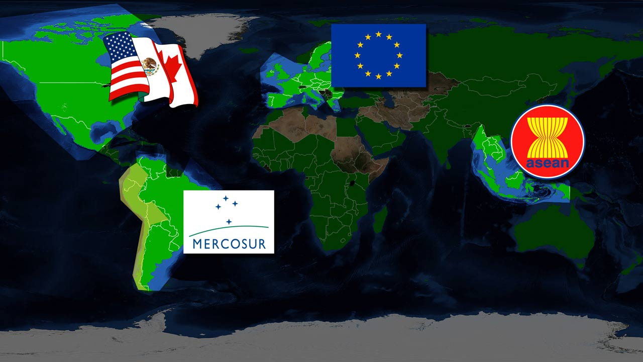 world map free trade zones NAFTA EU Mercosur ASEAN