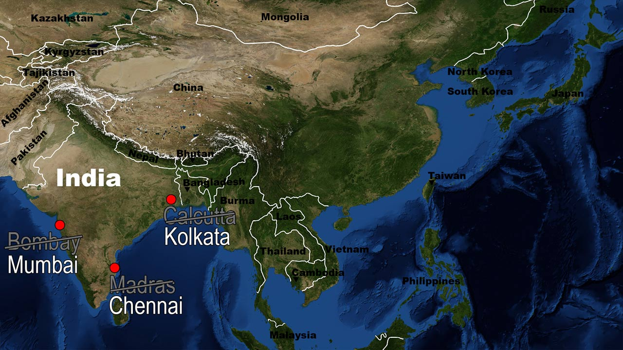 India new city names map