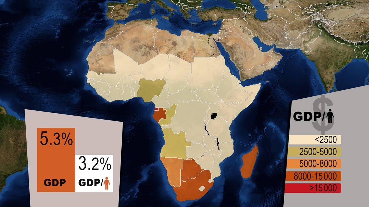 Africa GDP per capita map